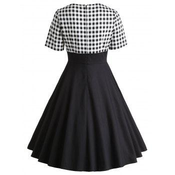 Vintage Checked Fit and Flare Dress - BLACK 2XL