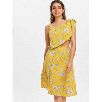 Cut Out Print Knee Length Dress - YELLOW L