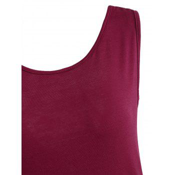 See Through Lace Panel Back Knot Tank Top - RED WINE XL