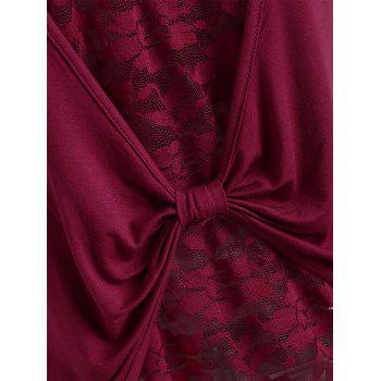 See Through Lace Panel Back Knot Tank Top - RED WINE 2XL