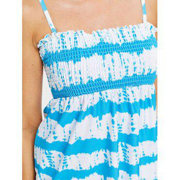 Tie Dye Smocked Bralette Tankini - LIGHT SKY BLUE L