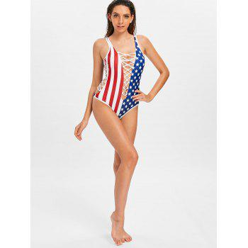 American Flag Lace Up Swimsuit - COBALT BLUE L