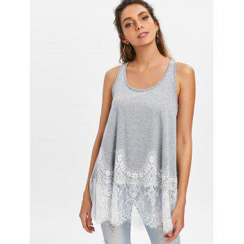 Lace Panel Tunic Tank Top - LIGHT GRAY L