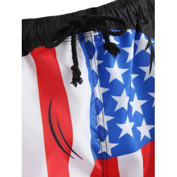 Drawstring American Flag Swim Trunks - BLACK M