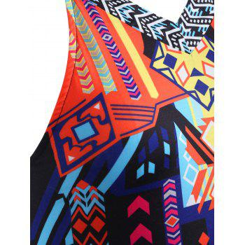 Plus Size Ethnic Print V-neck Tank Top - BLACK 2X