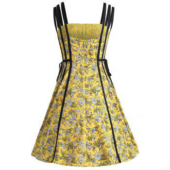 Print Flare Strappy Dress - YELLOW S