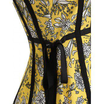 Print Flare Strappy Dress - YELLOW L