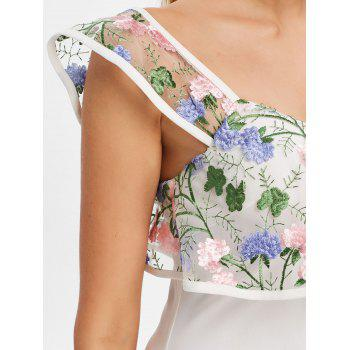 Floral Embroidery Flounce Off Shoulder Dress - MILK WHITE L