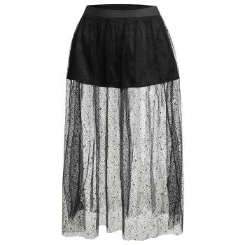 Plus Size Floral Lace Skirt with Shorts - BLACK L