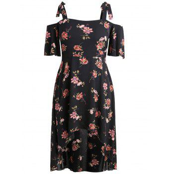 Plus Size High Low Tie Straps Print Dress - BLACK 2X