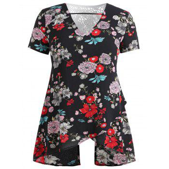 Plus Size Tropical Floral Overlap Blouse - BLACK L