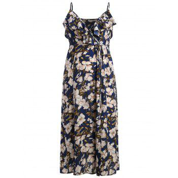Plus Size Spaghetti Strap Floral High Slit Maxi Dress - DEEP BLUE L
