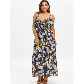 Plus Size Spaghetti Strap Floral High Slit Maxi Dress - DEEP BLUE 1X