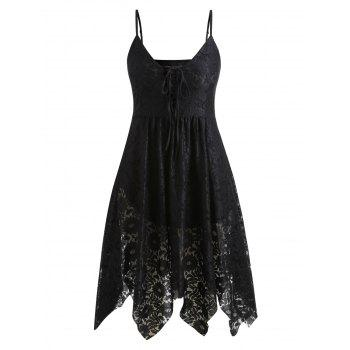 Plus Size Cami Lace Up Dress - BLACK 5X
