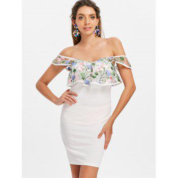 Floral Embroidery Flounce Off Shoulder Dress - MILK WHITE XL