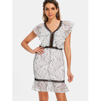 V-neck Floral Lace Flounce Dress - WHITE 2XL