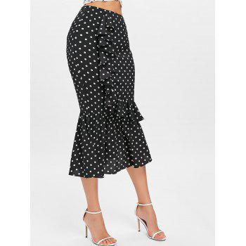 Polka Dot Midi Mermaid Skirt - BLACK L