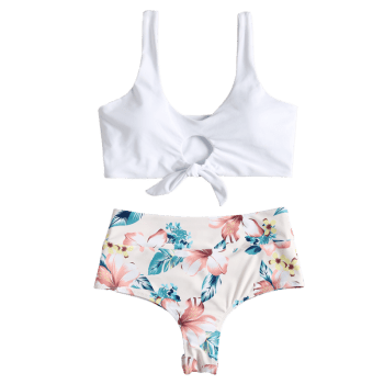 High Rise Knotted Floral Scrunch Bikini Swimwear - WHITE S
