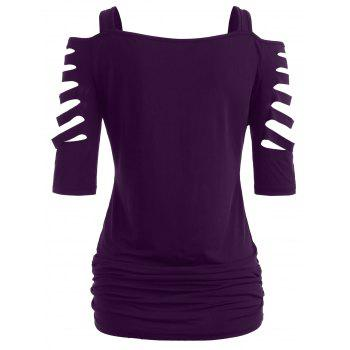 Shoulder Cut Lacerated Sleeve T-shirt - PURPLE IRIS XL