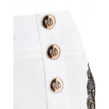 Embroidery Vintage Shorts with Metal Button - MILK WHITE M