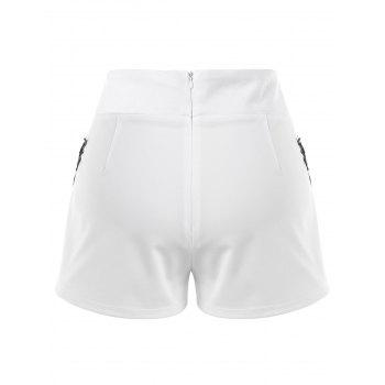Embroidery Vintage Shorts with Metal Button - MILK WHITE 2XL