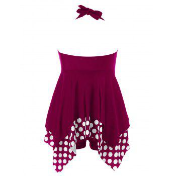 Halter Neckline Plus Size Polka Dot Tankini - RED WINE XL