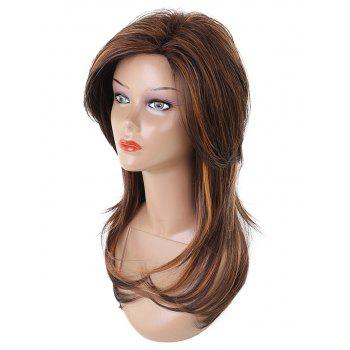 Long Side Bang Layered Straight Colormix Synthetic Wig - multicolor