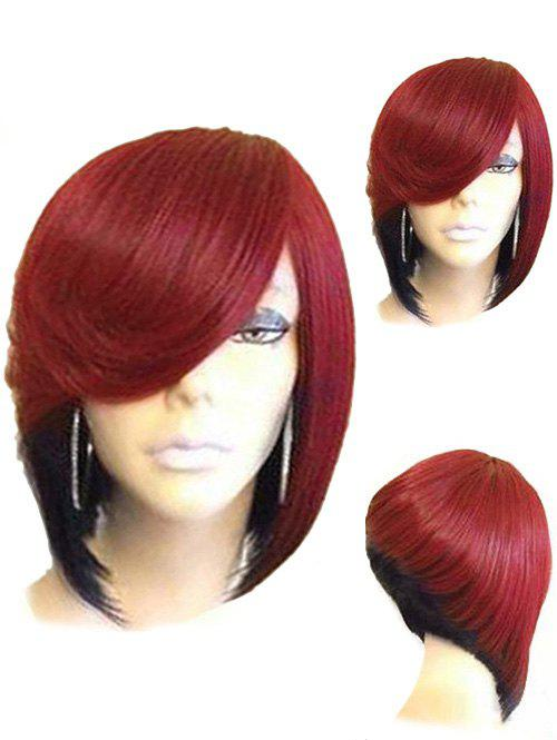 Short Side Parting Straight Colormix Inverted Bob Synthetic Wig - CHESTNUT RED