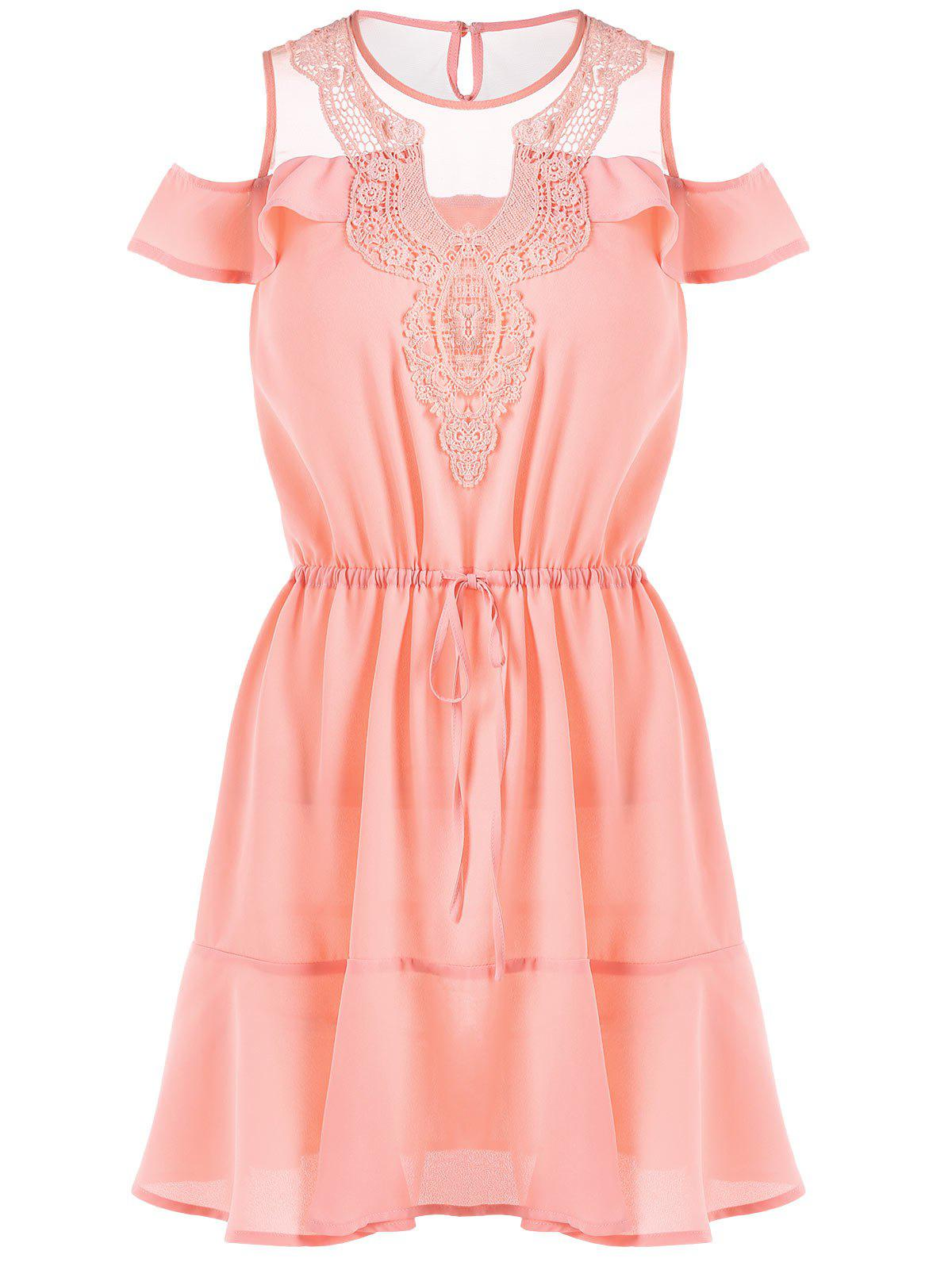 Ruffle Trim Crochet Panel Fluted Dress - LIGHT PINK M
