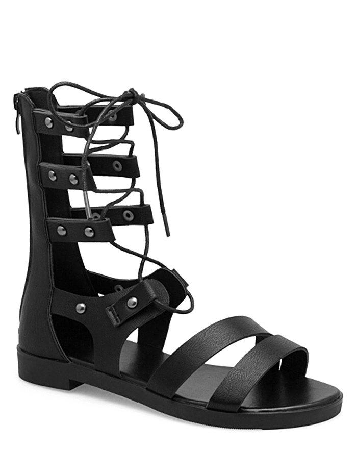 Lace Up Cross Flat Heel Gladiator Shoes - BLACK 39