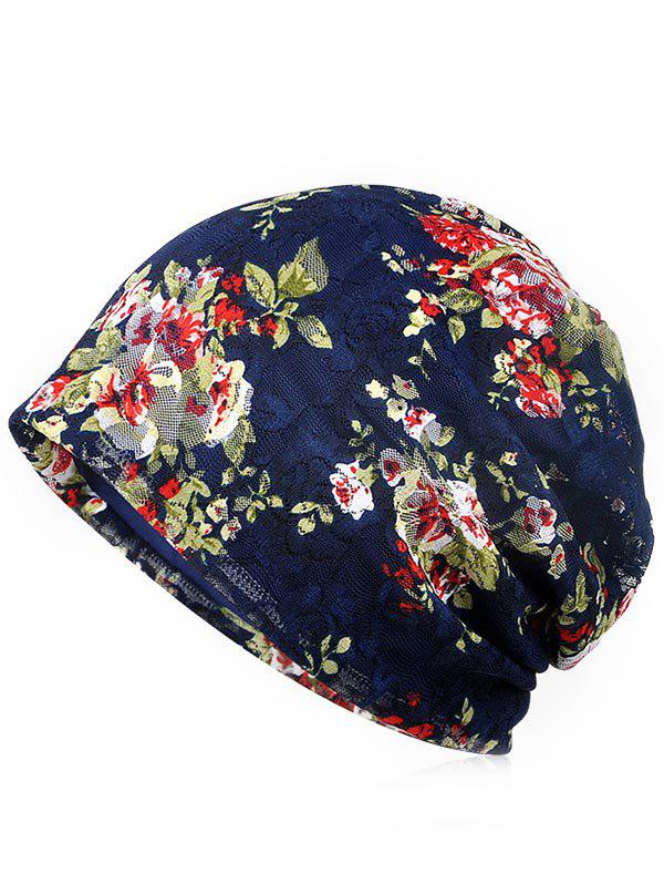 Lightweight Flourishing Flowers Decorative Beanie - MIDNIGHT BLUE