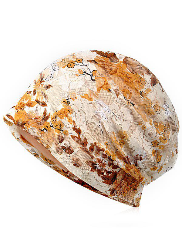 Lightweight Flourishing Flowers Decorative Beanie - BLANCHED ALMOND