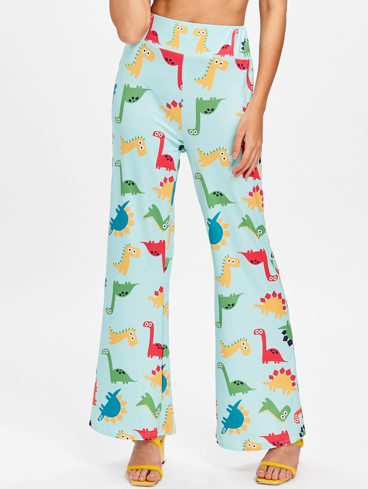 Wide Leg Cartoon Dinosaur Printed Pants - multicolor XL