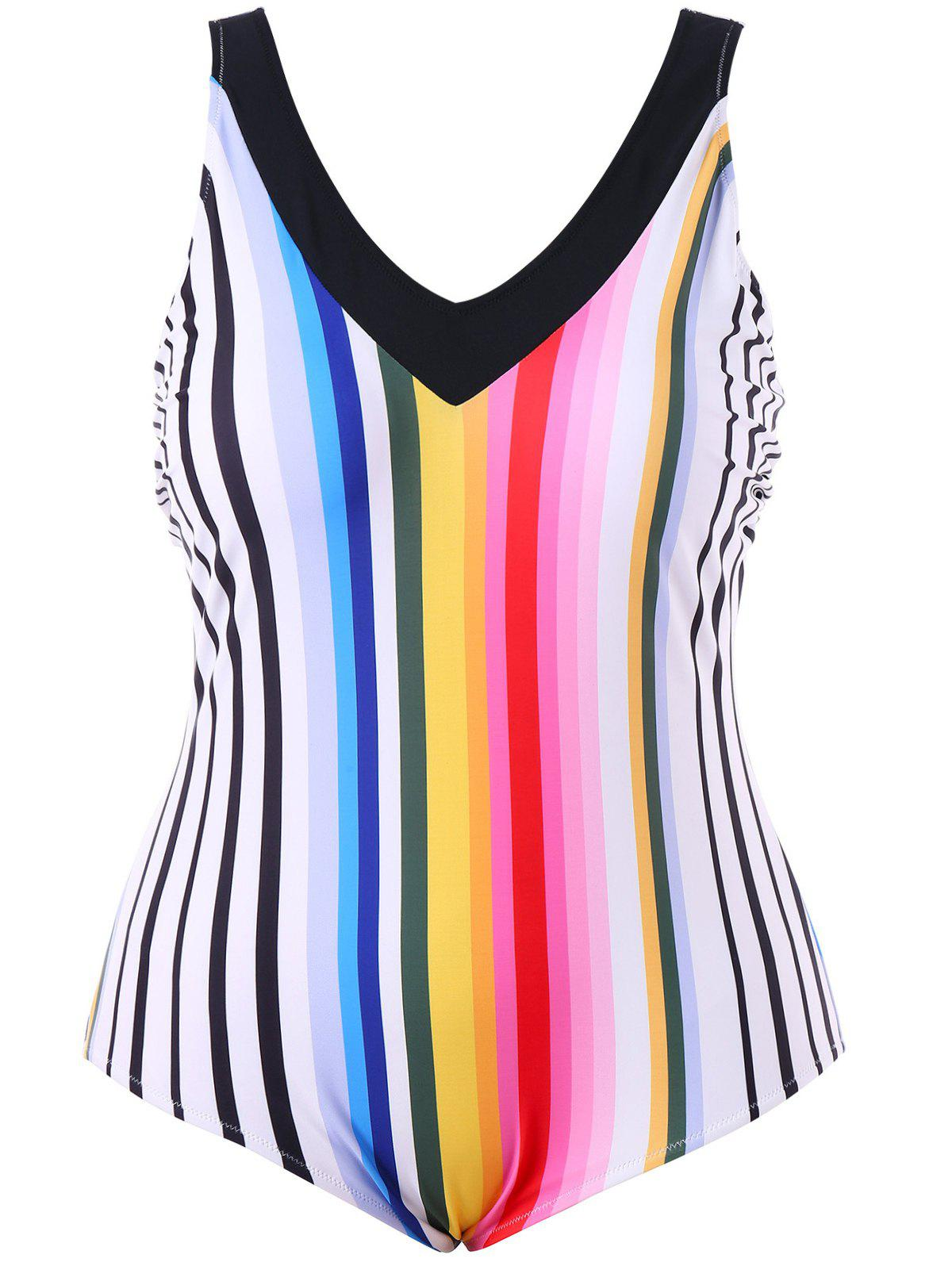 Plus Size Rainbow Stripe Open Back One Piece Swimwear - COLORMIX XL