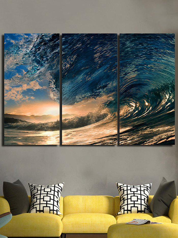 Sunset Huge Sea Waves Printed Unframed Canvas Paintings 4pcs waves sunset printed canvas unframed wall art