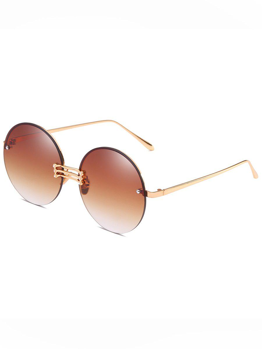 Vintage Rimless Circle Beach Travel Driving Sunglasses - CAMEL BROWN
