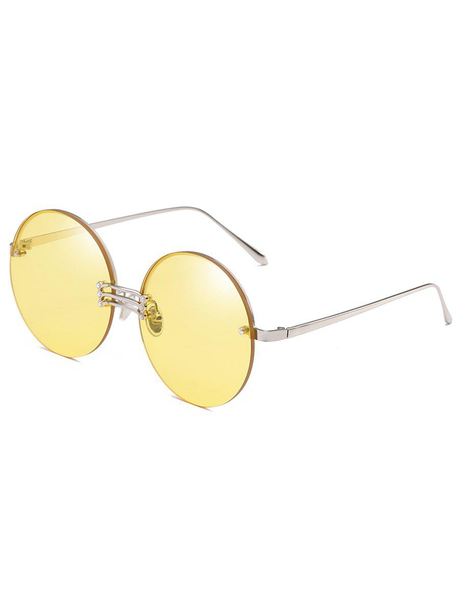 Vintage Rimless Circle Beach Travel Driving Sunglasses - GOLDENROD
