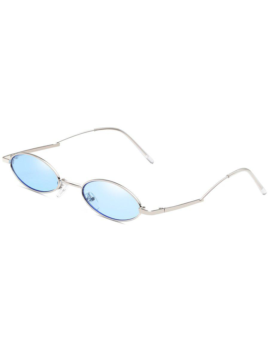 Unique Curved Legs Sun Shades Oval Sunglasses - JEANS BLUE