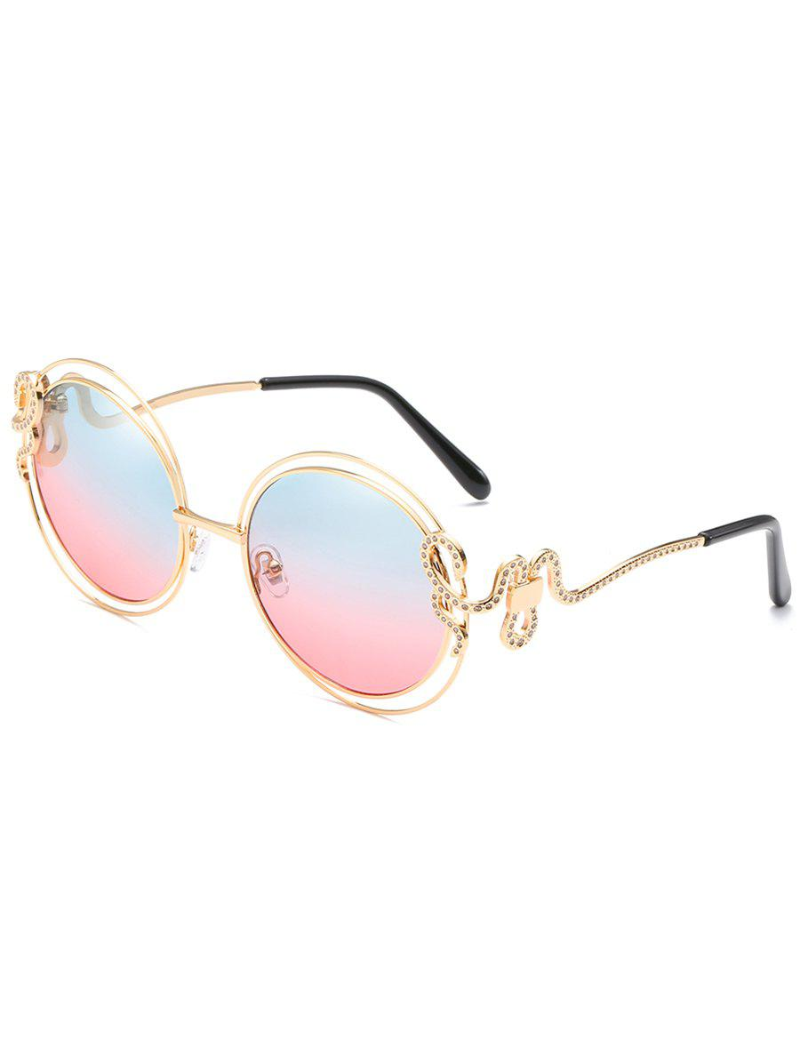Unique Double Metal Frame Rhinestone Inlaid Sunglasses - CORNFLOWER BLUE