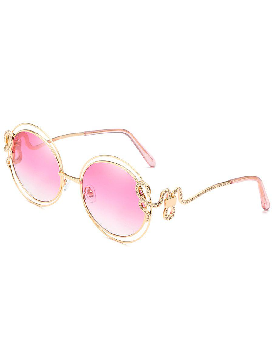 Unique Double Metal Frame Rhinestone Inlaid Sunglasses - PINK