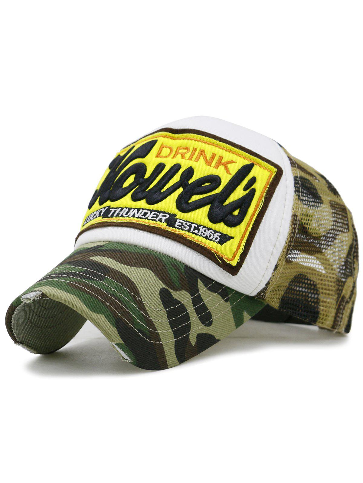 Unique Letter Embroidery Mesh Sunscreen Hat - ACU CAMOUFLAGE