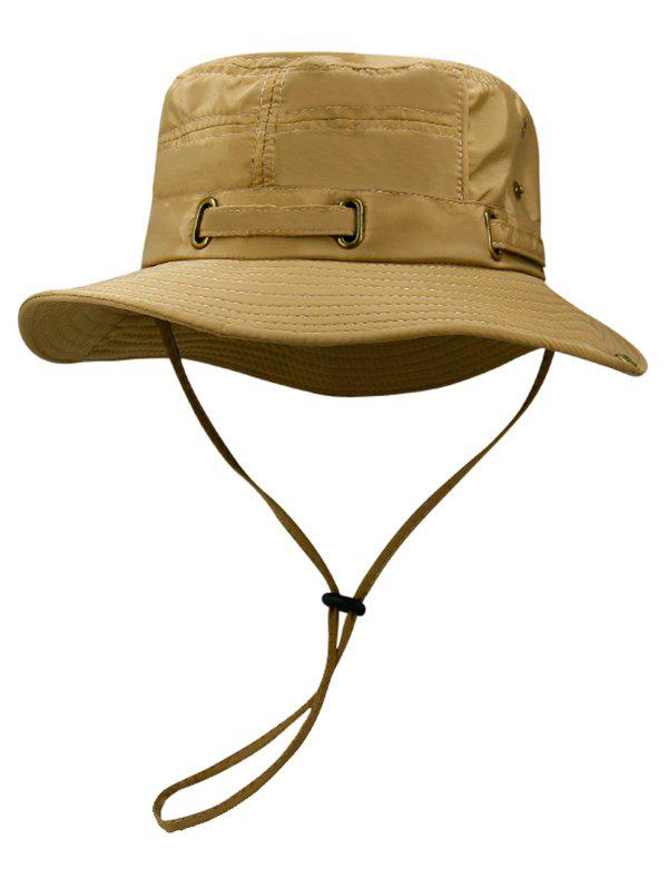 Soft Line Embroidery Breathable Bucket Hat - CINNAMON