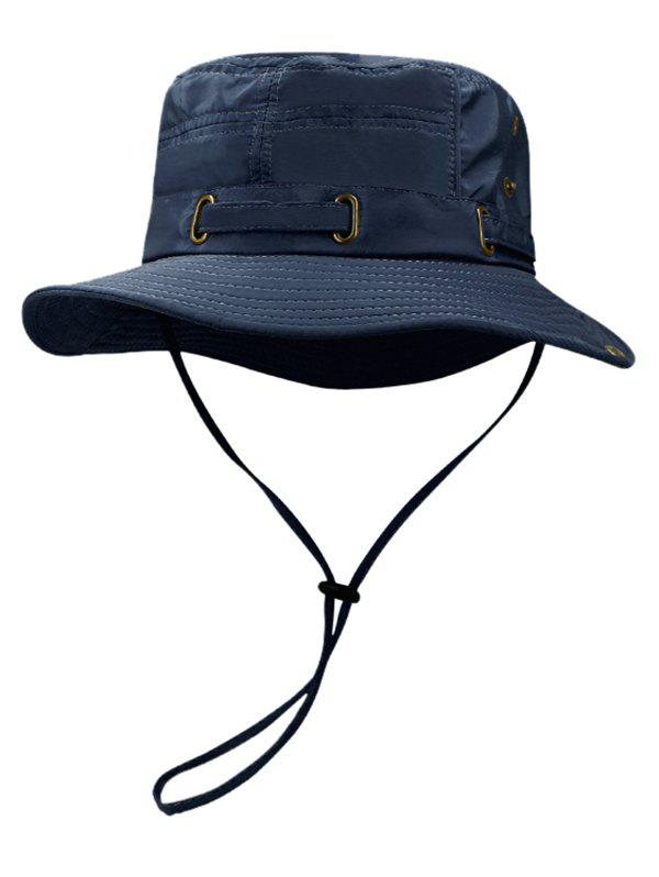 Soft Line Embroidery Breathable Bucket Hat - DARK SLATE BLUE