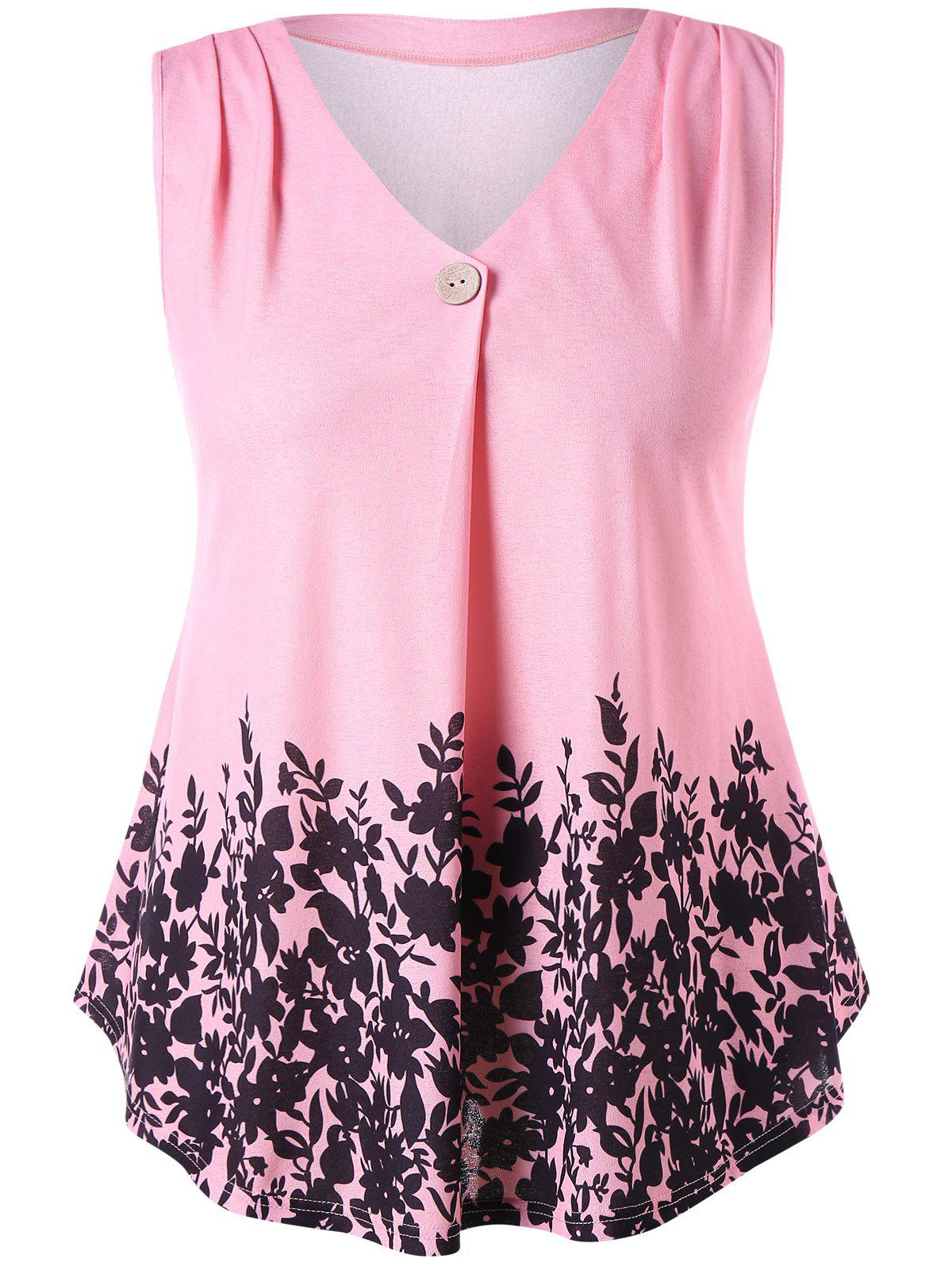 Plant Printed Plus Size Sleeveless T-shirt - LIGHT PINK 5X