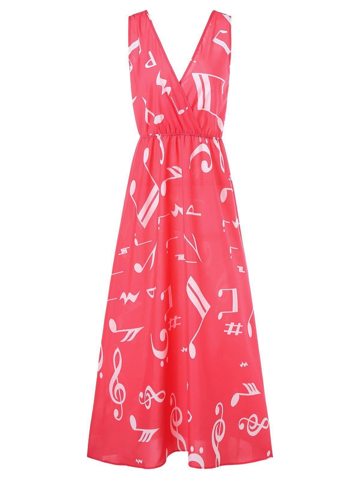 Plunging Neckline Musical Notes Maxi Dress - RED M