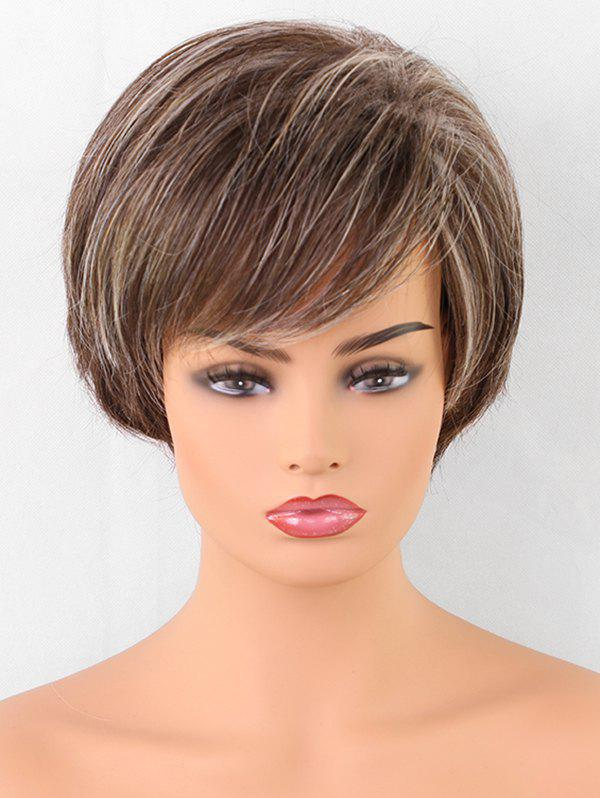 Short Colormix Oblique Fringe Straight Synthetic Wig - multicolor