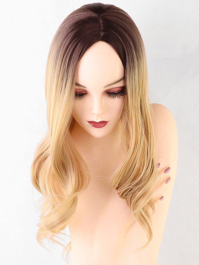 Long Middle Part Ombre Wavy Synthetic Wig - multicolor
