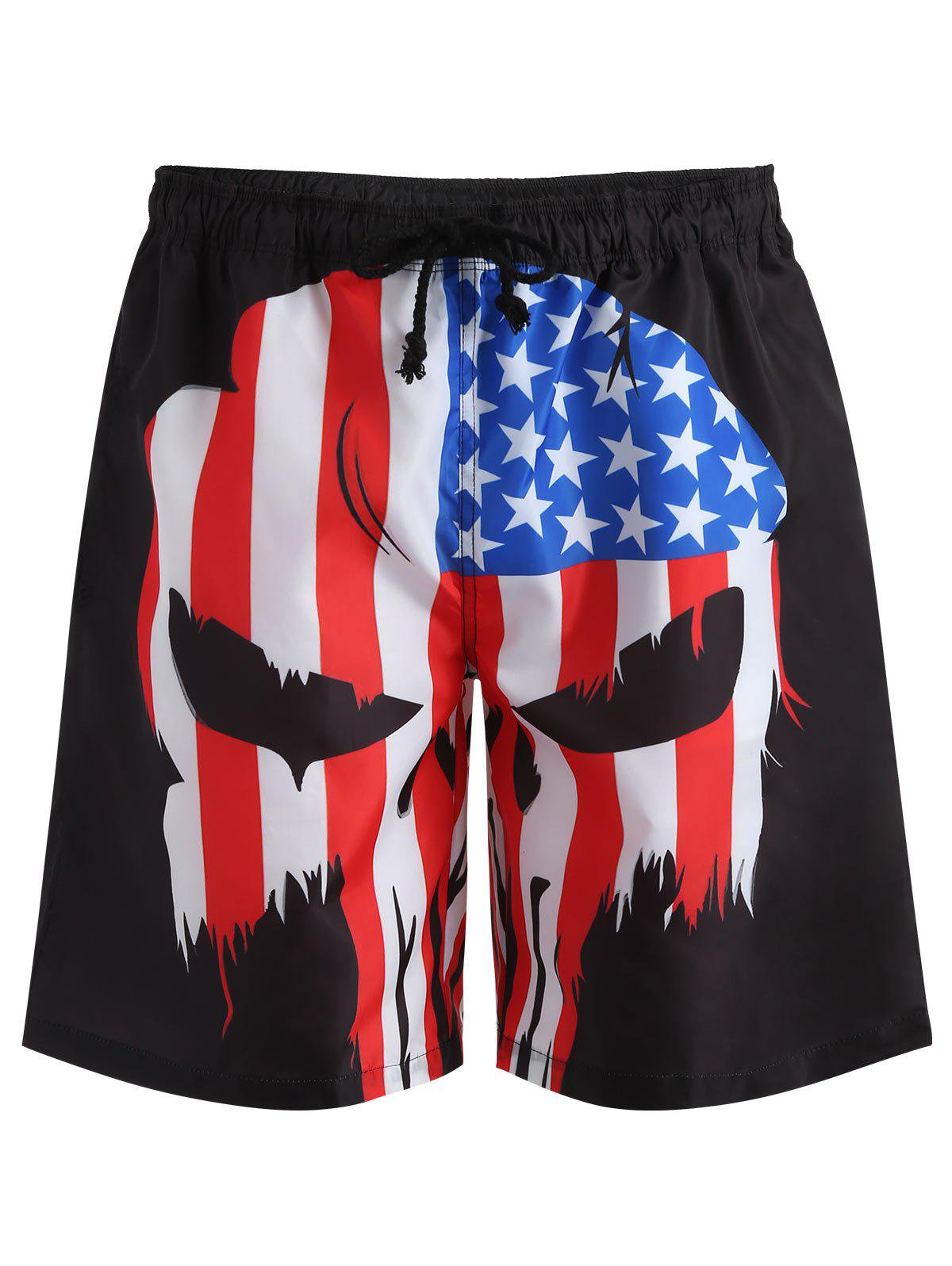 Drawstring American Flag Swim Trunks - BLACK S