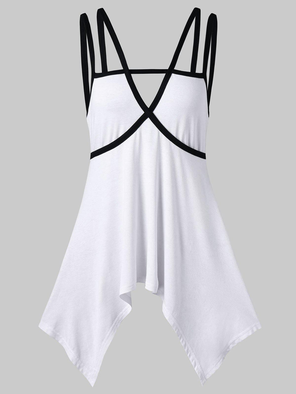 Crescent Hem Strappy Tank Top hanky hem strappy tank top