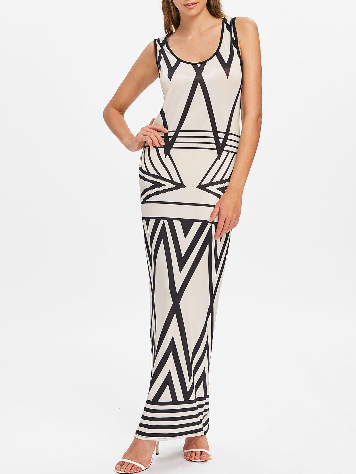 Chevron Print Sleeveless Maxi Dress - BEIGE XL
